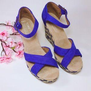 TOMS Sienna Blue Espadrille Wedge Sandals Size 6.5